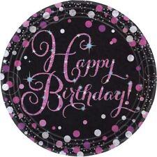 ROSA CELEBRAZIONE HAPPY BIRTHDAY PRISMATICO piatti di carta 23cm -