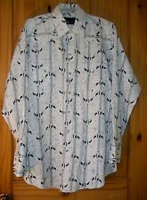 Panhandle Slim White Pearl Snap Shirt w/ Bull Skull Pattern USA Made, Mens 16-34