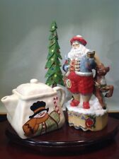 Vtg. Christmas Teapot & Santa Claus with Red Nose Rudolph Music Box Combination
