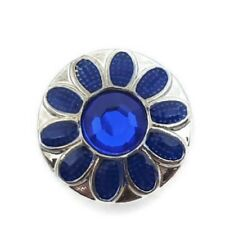 Noosa Chunks Ginger Style Snap Button Charms Blue Flower Rhinestones 20mm