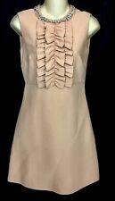Miu Miu Dress Blush Peach  Ruffle  Embellished Rhinestones Sleeveless Size 0/ 2