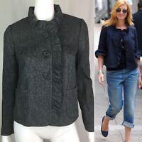 $198 J. Crew Women's 4 Gray Wool Herringbone Ruffled Fiona Blazer Jacket Coat