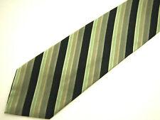 """Via Europa Mens Necktie Tie Ollive Green Black Striped Silk 60"""""""