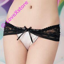 Sexy Lingerie Mesh Around Hip Satin Thongs Panties Women Undies Underwear 1051