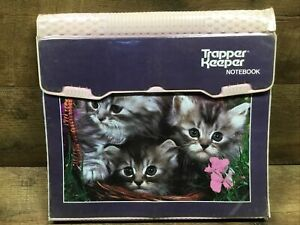 Vintage Mead 1980s Gray Kittens Cats Trapper Keeper Notebook 3-Ring Binder