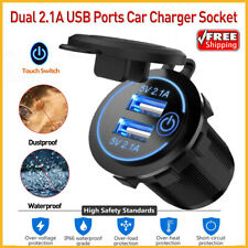 Car Cigarette Lighter Socket Outlet+Dual 2.1A USB Outlet W/Touch Switch For Car