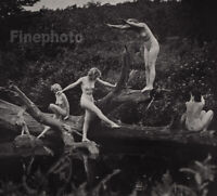 1937 Original ALFRED CHENEY JOHNSTON Female Nude Lake Nymph Art Deco Photo Litho