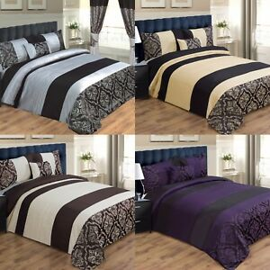 DUVET COVER BED SET INC PILLOWCASES & CUSHION COVER - DOUBLE, KING & SUPER KING