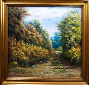 Contemporary Oil on Canvas  Countryside Path with a pair of birds
