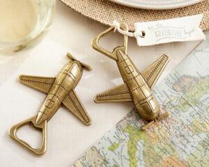 Adventure Gold Airplane Bottle Opener Wedding Shower Party Favor Gift MW34084