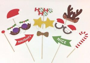Christmas Selfie Prop Booth Stick  Novelty Party Set SELFIE XMAS FAMILY GAMES