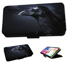 Black Gothic Crow Bird - Flip Phone Case Wallet Cover Fits Iphone 5 6 7 8 X 11