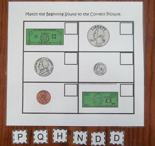 Money Match the Sound preschool learning game. Financial education for childlren