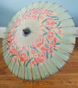 Vintage Beach Parasol 1930s Bamboo Hand Painted Stylised Butterflies Flowers