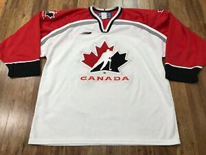 MENS LARGE - Vtg Team Canada Hockey Bauer Glued On Jersey