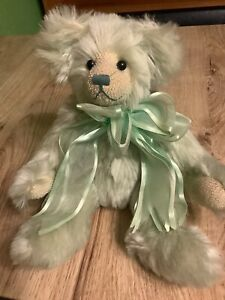 Jaymar Creations VINTAGE Bear Bean Filled Light Green & Bow 13 inches VGC