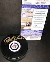 Patrik Laine Winnipeg Jets Autographed Signed Puck JSA SIGNATURE DEBUT COA 3
