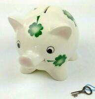 Goebel Green Shamrock Pig Piggy Bank Hand Painted Porcelain W Lock Key Ebay