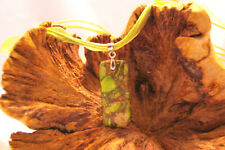 Light green sea sediment jasper agate pendant on green cord and organza necklace