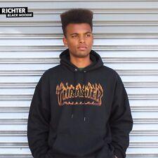 Thrasher Magazine RICHTER FLAMES LOGO PULLOVER Skateboard Hoodie BLACK XL