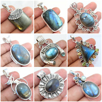 925 SOLID STERLING SILVER HANDMADE JEWELRY LABRADORITE PENDANT FOR VALENTINE DAY