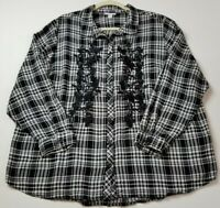 Westport Women Long Sleeve Button Up Shirt 3X Plaid Floral Embroidery Multicolor