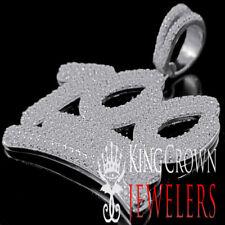 10K White Gold On Silver 100 Percent Emoji Simu Diamond Mens Pendant Pave Charm