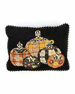 Mackenzie Childs Tartan Spice Pumpkin Lumbar Beaded Pillow NWT!!  RETIRED!!