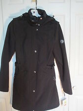 Calvin Klein Water Resistant Hooded Snap Front Coat XS Black   NWT