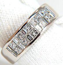 PLATINUM 2.00CT DIAMONDS BAND G/VS BAGUETTE & PRINCESS CHANNEL BRILLIANT+