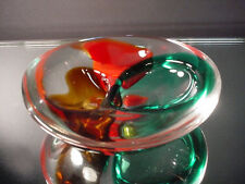 Scarce Amber Blue Red Sommerso Clam Shape Ash Tray Seguso Vetri d' Arte Murano