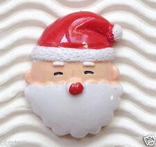 "Hand Painted x 10 pc x (1 3/8"") Santa Claus Resin Flatback  for Christmas SB417"
