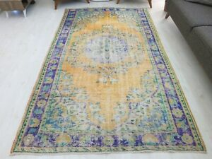 Old Area Rug 5.6x9.5 Turkish Room Hand knotted Mat Unique Oushak Persian Design