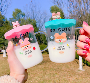 Cute Women Glass Cup Graduated Hot Tea Kids Milk Coffee Glass Mug c/w Lid 450ML