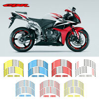"17"" Wheel Decals Tape 12X Motorcycle Wheel Paster Reflective Rim For Honda CBR#P"