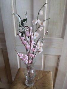 Vintage Millinery Flower Collection Pink Cherry Blossom 3pc on Long Stem Y232A