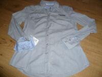 elegante Damen Bluse grau blau von SOCCX Gr. S / 36 bequem sitzend Langarm