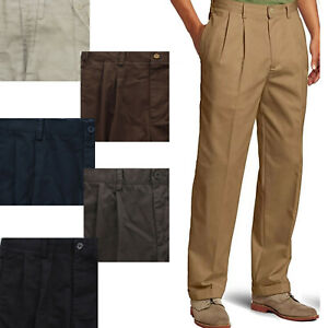 IZOD Mens American Heritage Chino Pleated Front Straight Fit Cuffed Pants