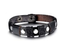 Genuine Leather and Stainless Steel Handmade Bracelet Men Women Fashion NEW