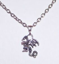 BABY PET DRAGON PENDANT on chain DARK SILVER PLATED