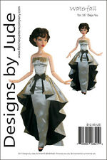 "Waterfall Dress Doll Clothes Sewing Pattern for 16"" Deja Vu Tonner"