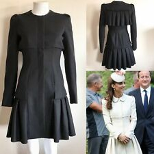 Rare Alexander McQueen Black Virgin Wool Princess Coat 2013 Dress XS