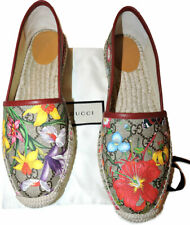 Gucci Pilar Floral GG Supreme Espadrilles Flat Shoes 39.5 Loafers