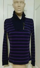Lauren Ralph Lauren LRL Size M Top Purple Black Striped Shawl Collar Zip