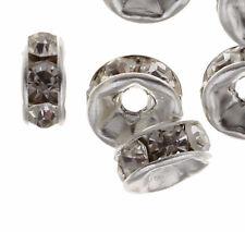50 Glas Strass Rondell Spacer Metallperlen 6 mm ALTSILBER KLAR CRYSTAL R41