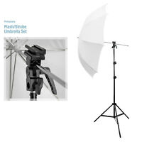 "33"" Umbrella Photography Kit Flash 7ft Light Stand Flash Bracket B Photo Studio"
