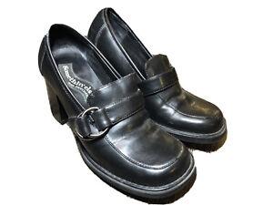 Vintage Somethin Else Sketchers Black Block Heeled Chunky Loafers Size 7