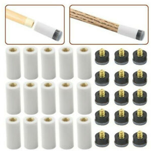 5 Pairs Billiard Screw-on Tips with Pool Cue Stick Ferrules Grey Tips Set 12mm
