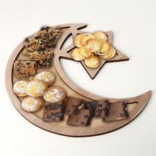Rustic Plain Wooden Crescent Moon & Star Eid / Ramadan Food Serving Tray