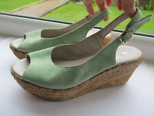 Ladies NEXT pale aqua suede wedged court shoe u.k. 4 (EUR37)